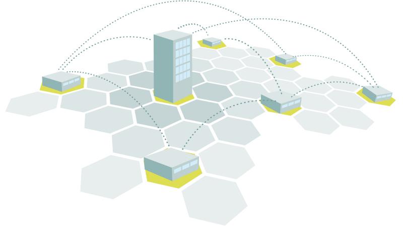 Схематичное изображение Территориально-распределённой системы контроля и управления доступом